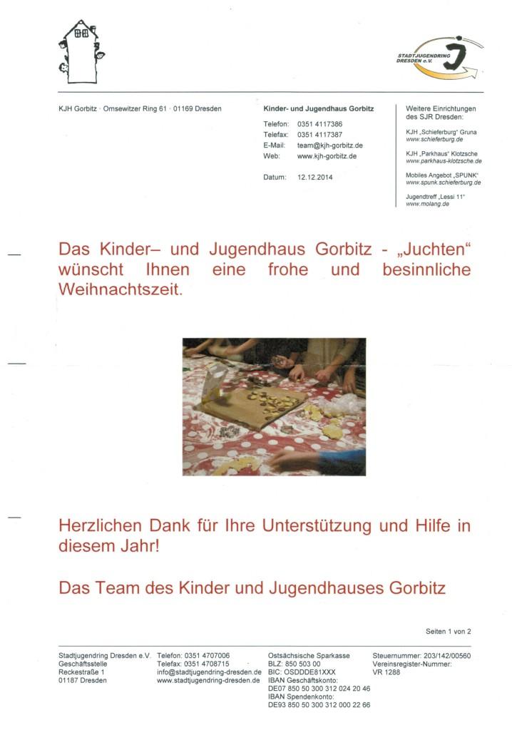 Auch das Team des Kinder- und Jugendhaus Gorbitz freut sich über Unterstützung.